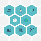 Flacher Ikonen-Erdplanet, Krabbe, Jungfrau und andere Vektor-Elemente Satz Galaxie-flache Ikonen-Symbole umfasst auch Skorpion Lizenzfreies Stockbild
