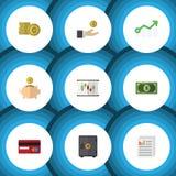 Flacher Ikonen-Finanzsatz des Geld-Kastens, Hand mit Münze, Dokumenten-Vektor-Gegenstände Schließt auch Geld, Münze, Dollar mit e vektor abbildung