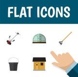 Flacher Ikonen-Garten-Satz des Treibhauses, Werkzeug, Pail And Other Vector Objects Schließt auch den Eimer mit ein und arbeitet, Lizenzfreie Stockfotos