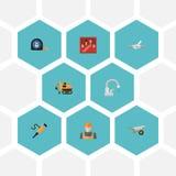Flacher Ikonen-Hahn, Rohrleitungs-Ventil, Arbeitskraft und andere Vektor-Elemente Satz Industrie-flache Ikonen-Symbole umfasst au Lizenzfreie Stockfotografie