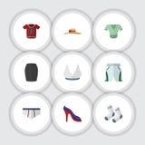 Flacher Ikonen-Kleidersatz Stamm-Stoff, zufälliger, auf den Fersen gefolgter Schuh und andere Vektor-Gegenstände Schließt auch Sc Lizenzfreies Stockfoto