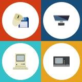 Flacher Ikonen-Laptop-Satz Datenverarbeitung, Computer-Maus, PC und andere Vektor-Gegenstände Schließt auch Retro-, Maus, Compute Stockfoto