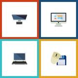 Flacher Ikonen-Laptop-Satz PC, Computer-Maus, Anzeige und andere Vektor-Gegenstände Schließt auch Diskette, Maus, Monitor mit ein Lizenzfreie Stockfotos