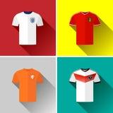 Flacher Ikonen-Satz Europa-Fußball-Jerseys Lizenzfreies Stockfoto