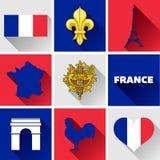 Flacher Ikonen-Satz Frankreichs Stockfotos