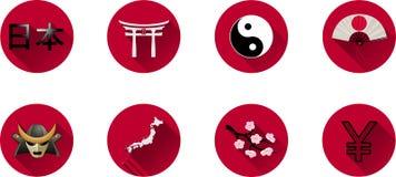 Flacher Ikonen-Satz Japans Stockfotografie