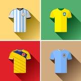 Flacher Ikonen-Satz Südamerika-Fußball-Jerseys Stockfoto