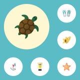 Flacher Ikonen-Seestern, Pantoffel, Anti-Sun-Creme und andere Vektor-Elemente Satz Jahreszeit-flache Ikonen-Symbole umfasst auch Stockbilder