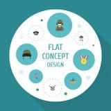 Flacher Ikonen-Soldat, Bewusstsein, Hut und andere Vektor-Elemente Stockbilder