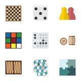 Flacher Ikonen-Unterhaltungs-Satz Schachtisch, Gomoku, Würfel und andere Vektor-Gegenstände Schließt auch Bingo, Spiel, Rubik-Ele vektor abbildung