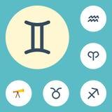 Flacher Ikonen-Wasser-Träger, Ram, Optik und andere Vektor-Elemente Satz Astronomie-flache Ikonen-Symbole umfasst auch Stier Lizenzfreie Stockfotos