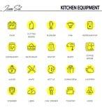 Flacher Ikonensatz der Küchenausrüstung Lizenzfreie Stockbilder
