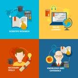 Flacher Ikonensatz des E-Learnings Stockfotos