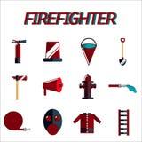 Flacher Ikonensatz des Feuerwehrmanns Stockbilder