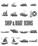 Flacher Ikonensatz des Schiffs und des Bootes Lizenzfreie Stockfotografie