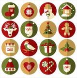 Flacher Ikonensatz Weihnachten Stockbild
