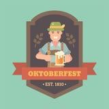 Flacher Illustrationsausweis Oktoberfest Stockfoto