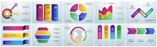 Flacher infographic Papiersatz mit Diagrammen und Bookmarks Titel und Überschriftselemente vector Illustration stock abbildung