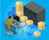 Flacher isometrischer Mann 3d auf Computeron-line-Bergbau bitcoin Konzept Bergwerksausrüstung Bitcoin Digital Bitcoin Goldene Mün Stockfotos