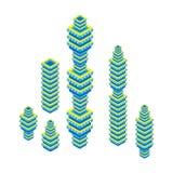 Flacher isometrischer Satz 3d des Wolkenkratzers Eine Abbildung auf einem Thema der Architektur Getrennt auf weißem Hintergrund Lizenzfreies Stockfoto