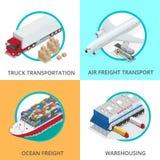 Flacher isometrischer Satz Illustration des Vektors 3d des globalen Logistiknetzes Transport-schienentransport der Luftfracht See Lizenzfreie Stockbilder