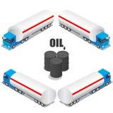 Flacher isometrischer Stadttransport-Ikonensatz der hohen Qualität 3d Vektorillustrations-Fracht-LKW, Öl-LKW Stockfoto