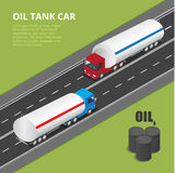 Flacher isometrischer Stadttransport-Ikonensatz der hohen Qualität 3d Vektorillustrations-Fracht-LKW, Öl-LKW Lizenzfreie Stockfotografie