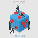 Flacher isometrischer Vektor 3d der Teamwork-Projektzusammenarbeit Lizenzfreie Stockbilder