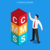 Flacher isometrischer Vektor 3d des CMS-Content Management-System-Würfels Stockfotos