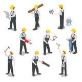 Flacher isometrischer Vektor 3d des Erbauertischler-Bauarbeiters Stockbild