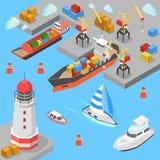 Flacher isometrischer Vektor 3d des SeetransportFrachtschiff-Hafens Stockbilder