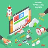 Flacher isometrischer Vektor der Digital-Marketing-Agentur lizenzfreie abbildung
