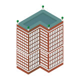 Flacher isometrischer Wolkenkratzer 3d Eine Abbildung auf einem Thema der Architektur Getrennt auf weißem Hintergrund für Ikonen  Stockfotografie