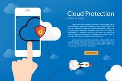 Flacher kreativer Designwolkenschutz für Netzfahne Stockbilder