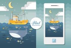 Flacher Meerblick mit Boot und Wal Flache Illustration stock abbildung