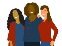 Flacher minimalistic Vektor der Frauengruppe: unterschiedliche Ethnie kaukasisch, afrikanisch, asiatisch Verschiedenartigkeitskon lizenzfreie abbildung