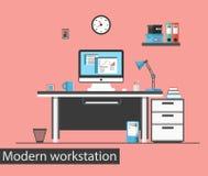Flacher moderner kreativer Büroarbeitsplatz Abstraktes 3d übertrug Innenraum Lizenzfreie Stockbilder