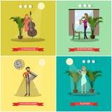 Flacher Poster des Vektors stellte mit den Musikern ein, die Musikinstrumente spielen stock abbildung