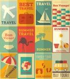 Flacher Reise-Poster eingestellt Lizenzfreies Stockfoto