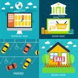 Flacher Satz der Sozialdienstreise, Online-Banking Lizenzfreie Stockfotos