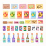Flacher Snack- und Getränkvektor Lizenzfreies Stockfoto