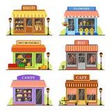 Flacher Speicher Moderner Shop, Butike shopfront und Restaurantfassade entwerfen Einkaufsspeicherkarikatur-Illustrationssatz stock abbildung