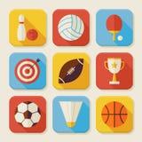 Flacher Sport und Tätigkeiten quadratische APP-Ikonen eingestellt Stockfotografie