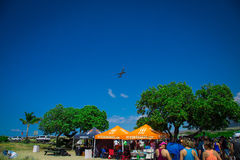 Flacher Start über Ragnar Hawaii-Zelt Stockfotografie