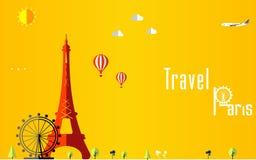 Flacher stilvoller Reisehintergrund, Vektorillustration für Paris-, Frankreich-, Reise- und Tourismuskonzept Lizenzfreie Stockfotografie