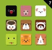 Flacher Tier-Gesichts-Anwendungs-Ikonen-Karikatur-Vektor-Satz lizenzfreie abbildung