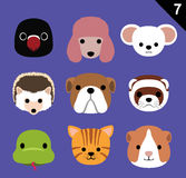 Flacher Tier-Gesichts-Ikonen-Karikatur-Vektor stellte 7 ein (Haustier) Stockbilder
