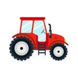 Flacher Traktor auf weißem Hintergrund Stockbilder