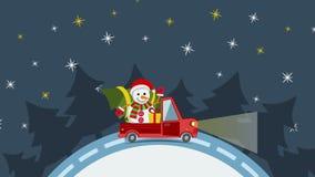 Flacher Transport-LKW der Lieferung, Packwagen mit Geschenkboxsatz auf Weiß an Weihnachtsvorabend lizenzfreie abbildung