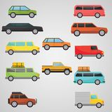 Flacher Transportsatz mit 12 Autos Stockbilder